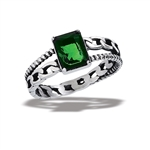Stainless Steel Ring With Green CZ And Link Shank