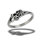 Stainless Steel Rose Ring With Small Accent Leaves