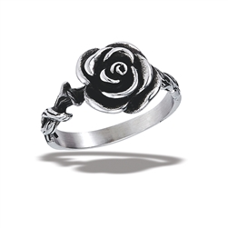 Stainless Steel Rose Ring With Twisted Vine Shank