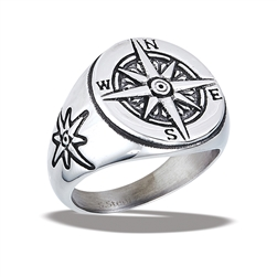 Stainless Steel Traveler's Compass Ring