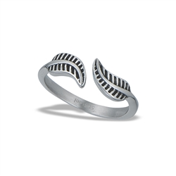 Stainless Steel Adjustable Double Feather Ring
