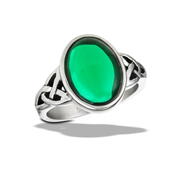 Stainless Steel Oval Green CZ Cabochon With Double Triquetras