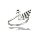 Stainless Steel Adjustable Swan With Faceted Synthetic Black Onyx Ring