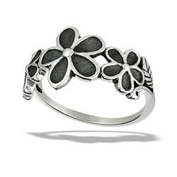Stainless Steel Triple Flower And Side Leaves Ring