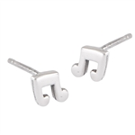 Sterling Silver Music Note Stud Earring
