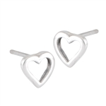 Sterling Silver High Polish Heart Stud Earring