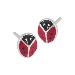 Sterling Silver Ladybug Earring with Red and Black Enamel