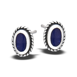 Sterling Silver Stud Earring with Synthetic Sodalite
