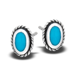 Sterling Silver Stud Earring with Synthetic Turquoise