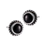 Sterling Silver Stud Earring with Synthetic Black Onyx