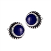 Sterling Silver Stud Earring with Synthetic Lapis