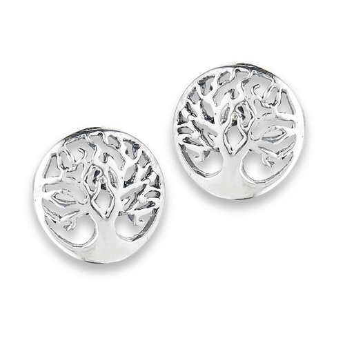 Sterling Silver Tree of Life Stud Earrings Rqr710