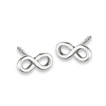 Classic 8 mm Sterling Silver Flat Faced Infinity Stud Earring in Wholesale Bulk Purchasing