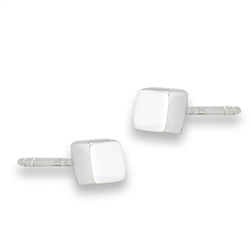 Sterling Silver High Polish Cube Stud Earring