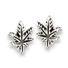 Sterling Silver Marijuana Leaf Stud Earring