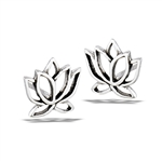 Sterling Silver Lotus Stud Earring
