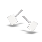 Sterling Silver 4mm High Polish Square Stud