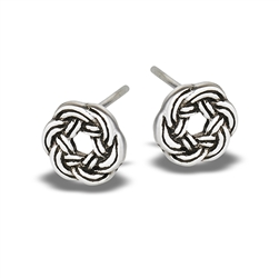 Sterling Silver Double Woven Wreath Stud Earring