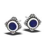 Sterling Silver Bali Style Stud Earring With Synthetic Sodalite