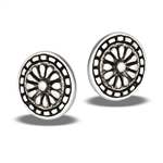 Sterling Silver Aztec Design Round Stud Earring