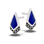 Sterling Silver Filigree Stud Earring With Synthetic Lapis