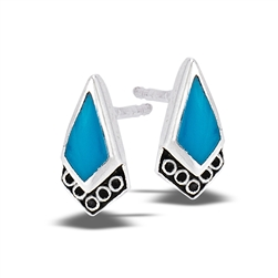 Sterling Silver Filigree Stud Earring With Synthetic Turquoise