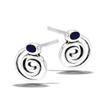 Sterling Silver Swirl Stud Earrings With Synthetic Black Onyx