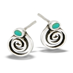Sterling Silver Swirl Stud Earrings With Synthetic Turquoise