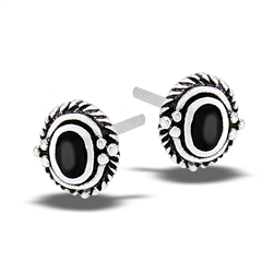 Sterling Silver Braided Stud Earring With Synthetic Black Onyx And Granulation