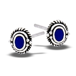 Sterling Silver Braided Stud Earring With Synthetic Lapis And Granulation