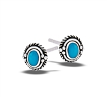 Sterling Silver Braided Stud Earring With Synthetic Turquoise And Granulation