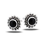 Sterling Silver Bali Style Granulation Stud Earring With Synthetic Black Onyx