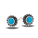 Sterling Silver Bali Style Granulation Stud Earring With Synthetic Turquoise