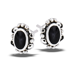 Sterling Silver Lace Stud Earring With Synthetic Black Onyx