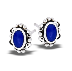 Sterling Silver Lace Stud Earring With Synthetic Lapis