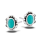 Sterling Silver Lace Stud Earring With Synthetic Turquoise