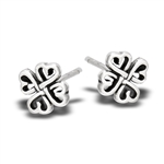 Sterling Silver Multiple Celtic Knot Quadruple Heart Stud Earring