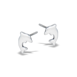 Sterling Silver Diving Dolphins Stud Earring