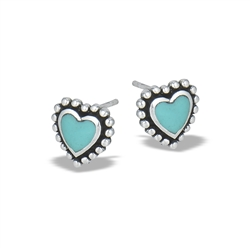 Sterling Silver Granulated Heart Stud Earring With Synthetic Turquoise