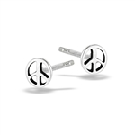 Sterling Silver Small Peace Sign Stud Earring