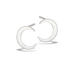 Sterling Silver High Polish Crescent Moon Stud Earring