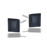 Sterling Silver 6 mm Square Synthetic Black Onyx Stud Earring