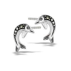 Sterling Silver Marcasite Dolphin Stud Earring