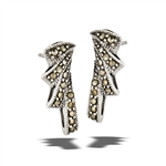 Sterling Silver Marcasite Modern Flair Post Earring