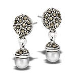 Sterling Silver Marcasite Dome With gray Pearl Earring