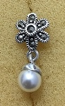 Sterling Silver Marcasite Flower Earring With Grey Dangle Pearl