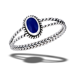 Sterling Silver Braided Synthetic Lapis Ring With Double Rope Shank