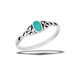 Sterling Silver Synthetic Turquoise Ring With Triquetras