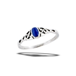 Sterling Silver Synthetic Lapis Ring With Triquetras