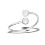 Sterling Silver Adjustable Double Ball Ring